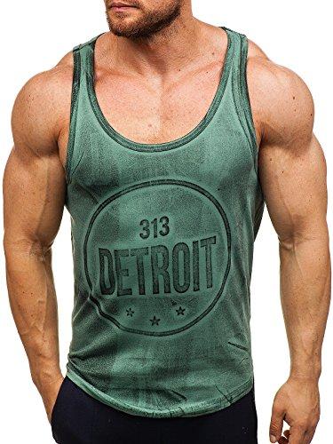 BOLF Herren Muskelshirt Ärmellos T-Shirt Tank Top Motiv Sport Style Madmext 2446 Grün L [3C3]