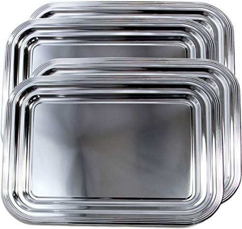 Maro Megastore (4er Pack) 41,2 cm x 30,8 cm Traditioneller rechteckiger Besatz Catering Plain Design Verchromter Serviertablett Teller Metall Stahl (Mittel) T664-4pk -