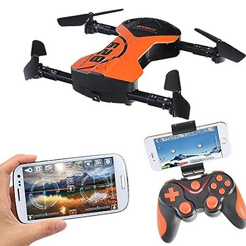 628 Faltbare Selfie RC Drone mit Kamera 1M WiFi FPV Funktion Foto Video Aufnahme Live Übertragung 2.4G 6-Achsen Gyro Drone 360 ° Rotation Auto Schweben Headless Mode Schwerkraft Sensor mit LED Licht Sprachsteuerung Flug mini Taschendrohne Quadrocopter mit Fernbedienung, 2 (Quadrocopter Android)