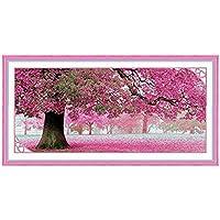 PIXNOR Kit de punto de cruz para elaborar bordado de cerezos en flor de Sakura, 110x 55cm, diseño de punto, artesanía, manualidades, costura, punto de cruz