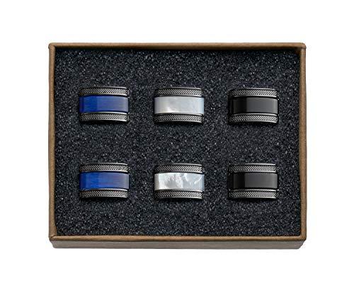 VALDERO® Herren Manschettenknöpfe - Men's Essentials in Box (Blau Perlmutt Schwarz) (3 Paar - Gun Black Metall)