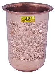 SHIV SHAKTI ARTS Handmade Pure Copper Embossed Glass Capacity-300ml
