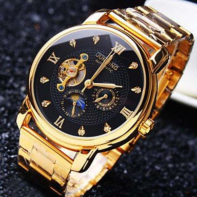 Fashion Watches Schöne Uhren, Herren-High-End-Business-runder Diamant Wahlmineralglasspiegel Edelstahlband Mode mechanische wasserdichte Uhr (Farbe : Schwarz, Großauswahl : Einheitsgröße)