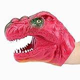 Ocamo Marioneta de Mano de Cabeza de Dinosaurio Rojo con Material de Seguridad,Juguete Guante Divertido de Broma