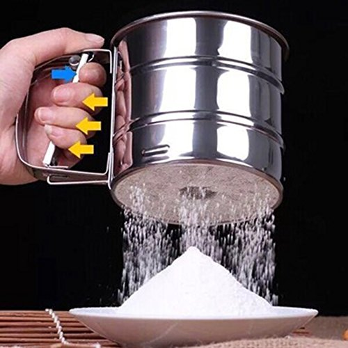 LanLan High Quality Manual Mesh Flour Sugar Powder Stainless Steel Hand Sifter Sieve Cup Baking Tool Best Seller
