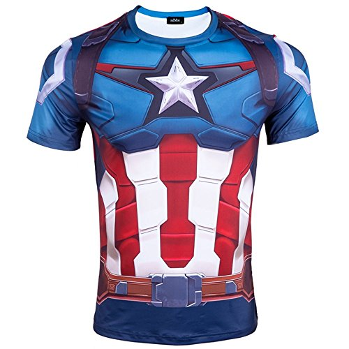 Madhero da uomo Marvel Comic Hero Avengers Cosplay Manica Corta T-Shirt (L, Blu Captain America Shield)