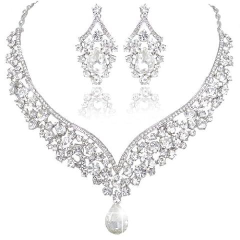 EVER FAITH® Austrian Crystal Art Deco V-Shape Party Jewellery Set - Clear-Silver-Tone N01911-9