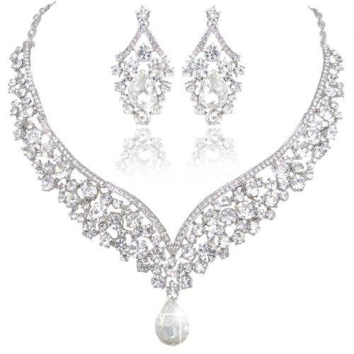EVER FAITH Austrian Crystal Art Deco V-Shape Party Jewellery Set