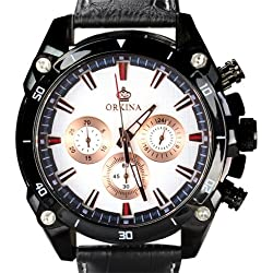 Orkina Black Case White Chronograph Dial Leather Strap Wrist Watch PO014-LBW