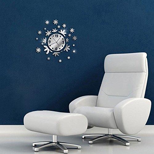 Vetrineinrete® orologio a parete adesivo sticker componibile tridimensionale 3d effetto specchio moderno decorazione murales fiori floreale 0525s