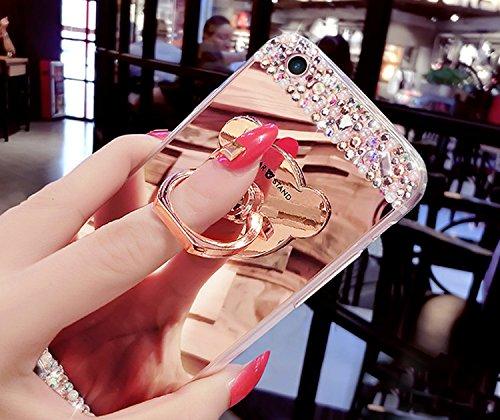 Glitter Étui Housse pour iPhone 7 / iPhone 8 (4.7 pouces) + [Support d'Anneau], Bonice Cristal Clair Miroir Cas Case avec 360 Degrés Rotation Bague, Luxe Bling Sparkle Strass Souple Soft Gel TPU Caout A-Argent
