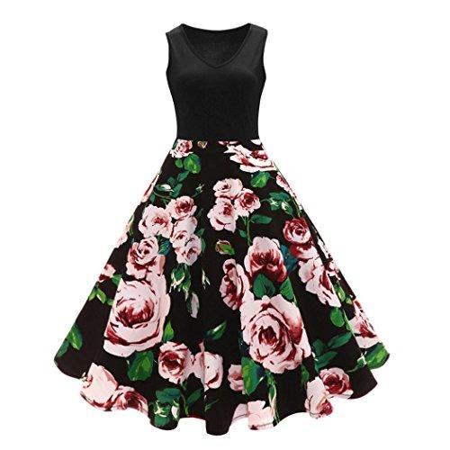 bst Rose drucken Mini Kleid mädchen Ärmellos Hochzeit abendkleider elegant eng blumen Kleider party Frühling Cocktailkleid (M, Schwarz) (Kinder Süßes Kleid)