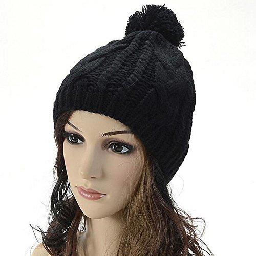 Maglieria di lana cappello caldo - iParaAiluRy Unisex moda morbide Cannabis Cappellino in inverno e primavera - Angelo Visiera Clip