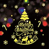 ODJOY-FAN Weihnachten Gold Wandaufkleber Fenster Tür Aufkleber Zuhause Dekoration Gemälde Haushalt Mauer Aufkleber Wandgemälde Dekor Abziehbild Wandtattoos (40X60cm) (C,1 PC)