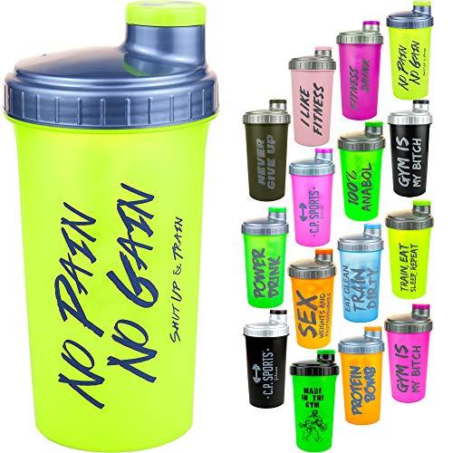 C.P. Sports Eiweiß Shaker mit herausnehmbaren Sieb & Schraubverschluß 700ml, Protein Shaker, Mixer (Grün)