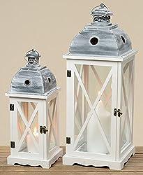 Laterne Tudor S/2 H42-60cm Holz/Glas