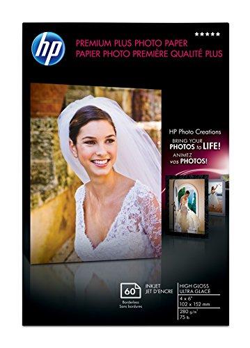 HP Premium Plus Fotopapier, hochglänzend (60 Blatt, 10 x 15 cm randlos)