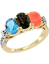 14 ct Gelb Gold Natural Swiss Blau Topaz, Smoky Topaz & Coral Ring Ehering 7 x 5 mm Oval Diamant Accent, Größe S