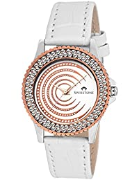 Swisstone VG520CP-White Dial White Leather Strap Analog Wrist Watch For Women/Girls