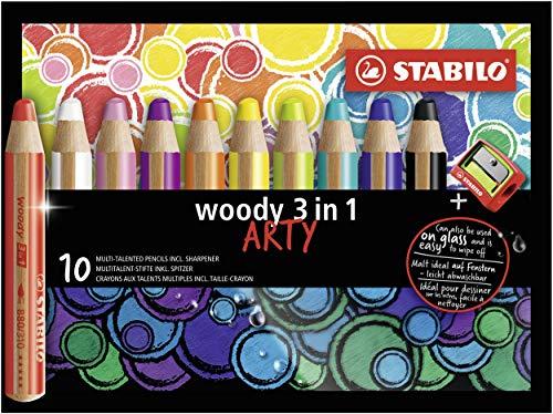 Matita colorata Multi-Funzione - STABILO woody 3 in 1 - ARTY - Astuccio da 10 - con Temperino - Colori assortiti