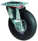 BS Rollen Transport-Lenkrolle, Anschraubplatte, Luftrad, Stahl Radkörper, 200 mm, L400.C90.200