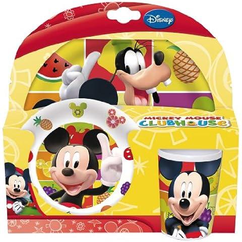 Stor 36090 - Set de melamina sin orla, 3 piezas, plato, cuenco y vaso, diseño Mickey Fruits