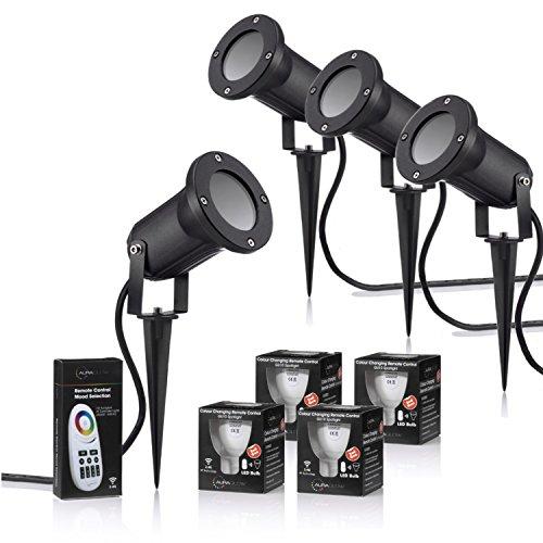 Auraglow Vertiefte IP54 GU10 LED Draussen Gartenlampe mit Erdspieß, 2.4 GHz RF Funk-Fernbedienung vollständig dimmbar und Farbänderung - 40w EQV - 4 Stück