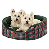 Bunty Heritage Tartan Soft Fur Fleece Dog Bed Washable Pet Basket Mat Cushion - Green - Large