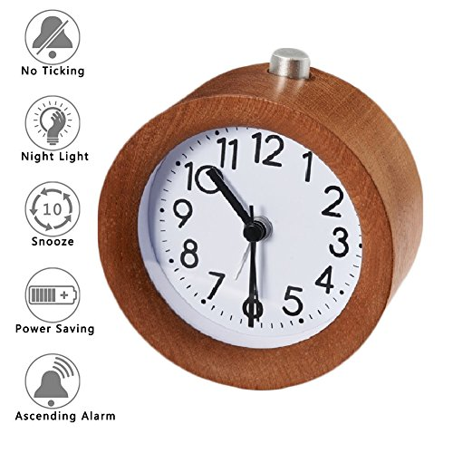 Bashley Digital Hölzerne Uhr, Klein Leise Schreibtisch Schlummern Handarbeit Holz Alarm Uhr, Stumm Kreativ Wecker mit Nachtlicht, Braun