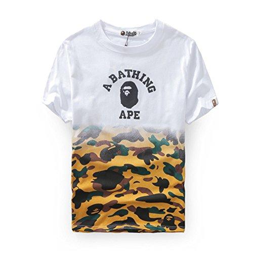 BOMOVO Herren BAPE T-Shirt mit V-Ausschnit Weiß