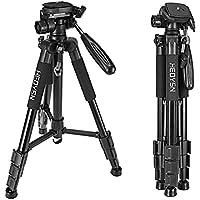 Heoysn Kamera Stativ aus Aluminium, Kompaktes und Stabil Fotostativ, Tragbare Faltbare SLR Stativ für Canon Nikon Sony DSLR Kamera Video mit Tragetasche (Schwarz)
