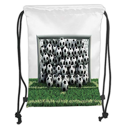 string Backpacks Bags,Sports Decor,Goal Net Full of Soccer Balls on the Football Field Schoolyard Victory, Soft Satin,5 Liter Capacity,Adjustable String Closure,The Stylish Bag ()
