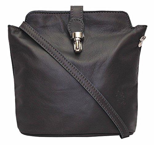 Vera Italian morbida in pelle o struzzo effetto, a croce corpo o borsa a tracolla borsetta Beige Rose Gold Dark Grey