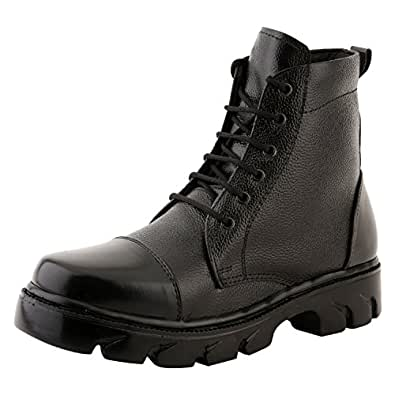 Nuan Black Leathrite Lace Up Half Ankle Jungle Boots (Fit for Casual/Formal)