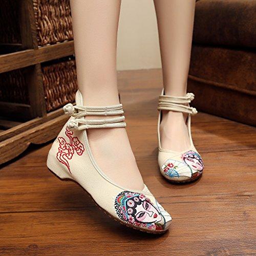 Gestickte Ethnischer Schuhe Beige Segeltuchschuhe Sehnensohle Mode Femaleshoes amp;hua Peking Bequeme Opera Stil nxRUREX4