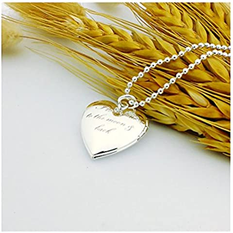 Medaglione per foto, da donna, placcato oro, con ciondolo a forma di cuore, catena da 45 cm