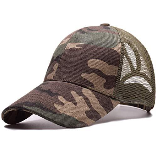 Mazheny Baseballmütze Ponycaps Messy Ponytail Einstellbare Outdoor Mesh Cap Trucker Papa Hut für Frauen Männer (Camouflage)
