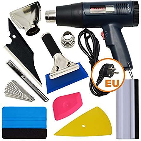 Ehdis 7 - 9Pieces Vehicle Glass Protector Film Car Wrapping Tint Installation Tools with Dual Temperature Heat Gun