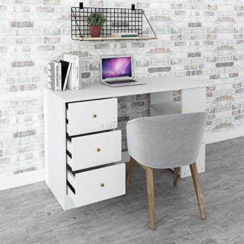 FoxHunter Bureau d'ordinateur avec 3tiroirs 3étagères PC Table Home Office Furniture Study station de travail de bureau Gaming Morden Grande Cd06Lilas Blanc