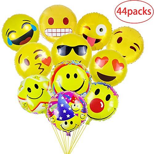 Gudotra 44 pcs Globos de Emoji de 11 Colores Diferentes Accesorios de Decoración para Cumpleaños Nueva Boda Fiesta Regalo