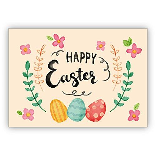 Im 16er Glückwunsch Set: Wunderschöne handgemalte Osterkarte, mit Blüten und Ostereiern: Happy Easter