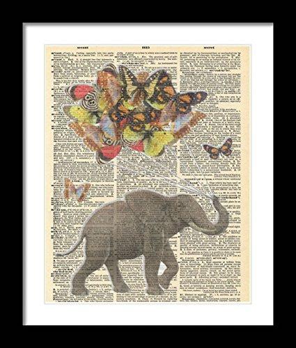 Elefant mit Schmetterlinge Ballon Bouquet Wörterbuch Art Wand dekotarion. 8x 10Elefant Wand Décor. Elefant Liebhaber Mottoparty Geschenk Idee. Rahmen Nicht inkl.