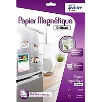 Avery 3 Feuilles de Papier Magnétique - A4 - Impression Jet d'Encre  - brillant (C9420)