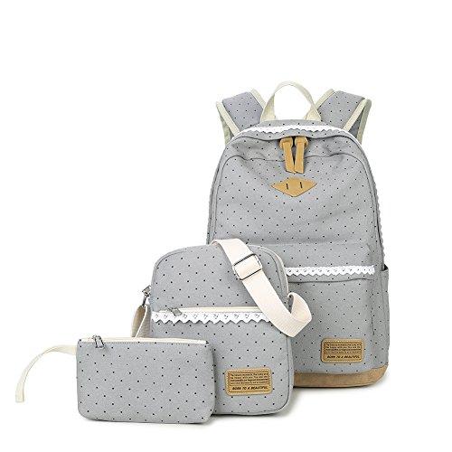 Zaino set di 3pois tela Lace Edge zaino monospalla borsa e borsetta carino borsa per adolescenti e donne, Grey Grey