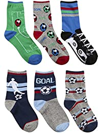6 Pairs of Boys Football Themed Short Socks
