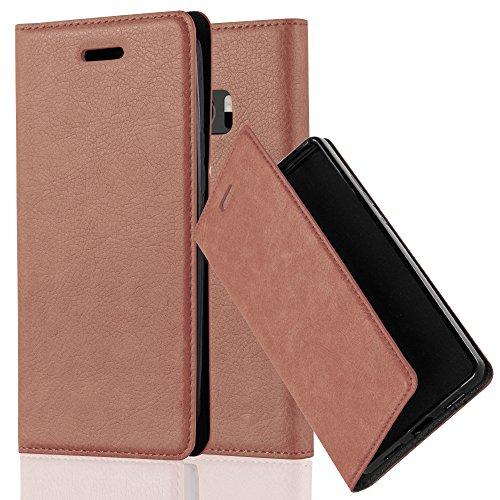 Cadorabo Hülle für HTC 10 (One M10) - Hülle in Cappuccino BRAUN – Handyhülle mit Magnetverschluss, Standfunktion und Kartenfach - Case Cover Schutzhülle Etui Tasche Book Klapp Style