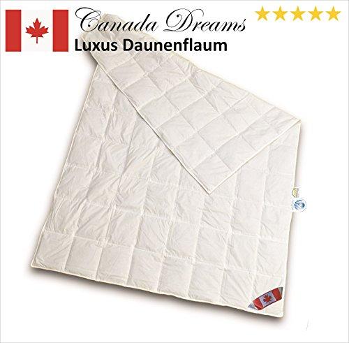 Canada Dreams Luxus Sommerbett Daunendecke Wärmegrad 1 Luxus Daunenflaum ☆☆☆☆☆ (220x240 cm)