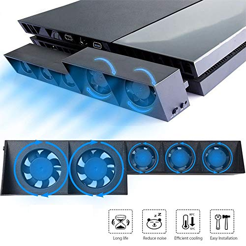 EEEKit Lüfter für PS4, Externer USB-Kühler 5 Lüfter Turbo Temperaturregelung Lüfter für Sony Playstation 4 Gaming Console