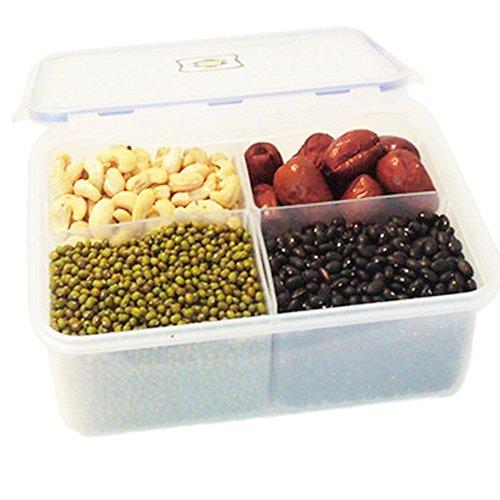 Daorier Boîte Alimentaire 4 réseaux Nourriture Crisper Four à Micro-ondes Réfrigérateur Grain Fruit Riz,1Pcs