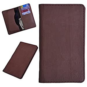 DCR Pu Leather case cover for Karbonn A27+ (brown)